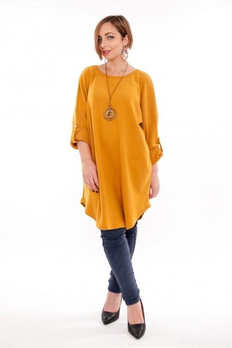 Bluză tip rochie cu colier inclus – Muștar