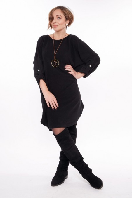 Bluză tip rochie cu colier inclus – Negru