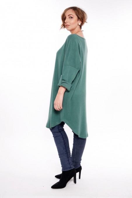 Bluză tip rochie cu colier inclus – verde