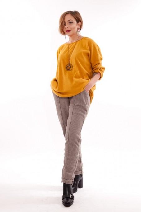 Pantaloni din stofă îmblăniți Lara – Bej