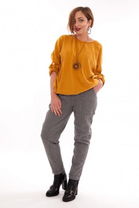 Pantaloni din stofă îmblăniți Lara – Gri