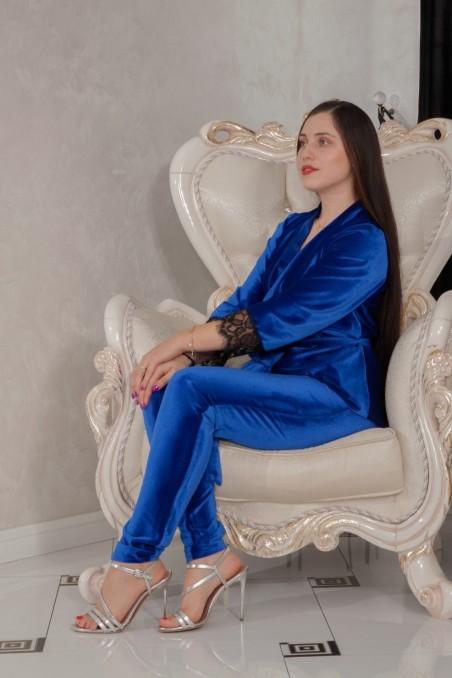 Set două piese din catifea Luna by Cosmina Kovács – Albastru