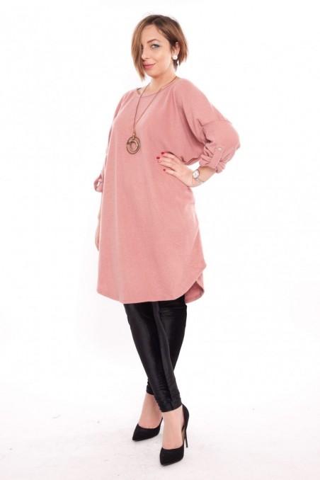Bluză tip rochie cu colier inclus – Roz pudră