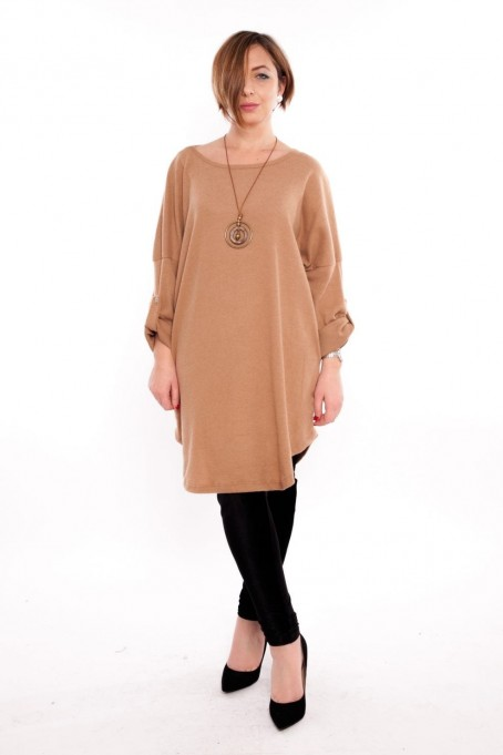 Bluză tip rochie cu colier inclus – bej