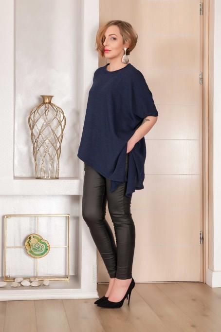 Bluză asimetrică cu colț din tricot -...