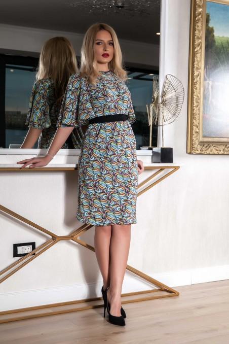 Rochie midi cu imprimeu și cordon în talie