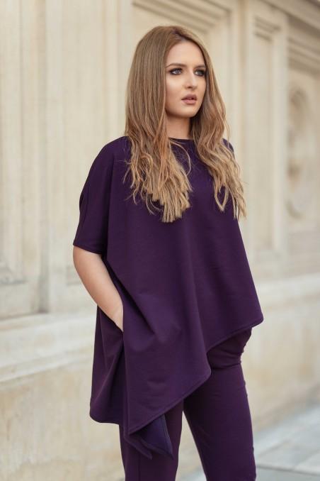 Compleu din tricot cu bluză asimetrică - Mov