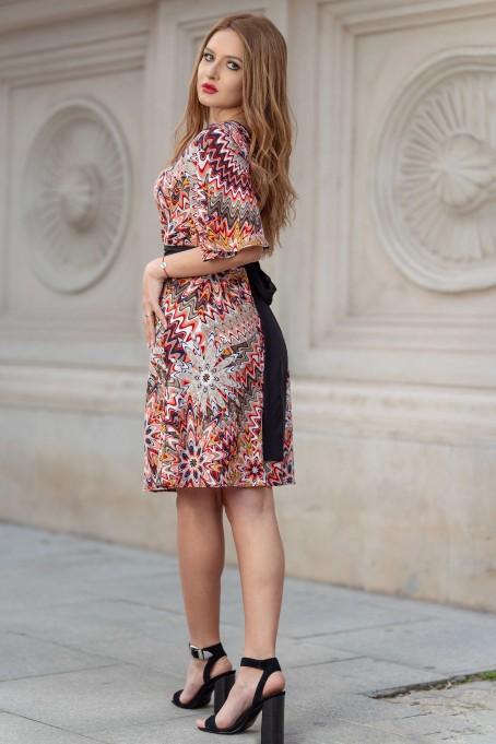 Rochie midi cu imprimeu și cordon în talie - Portocaliu