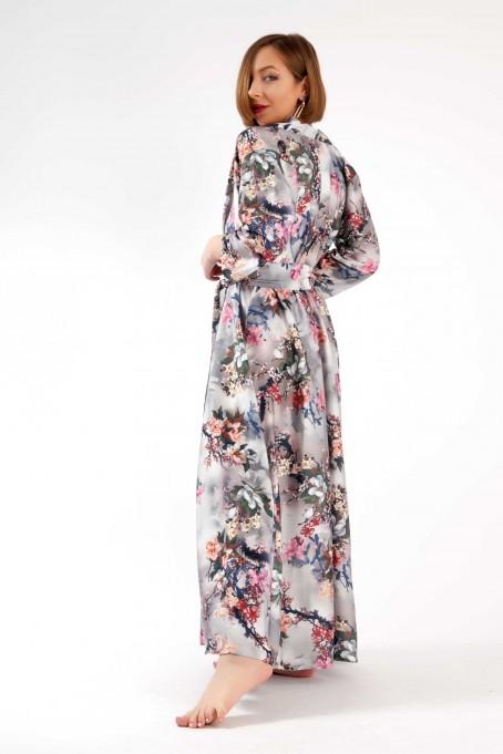 Chimono din mătase cu imprimeu floral...
