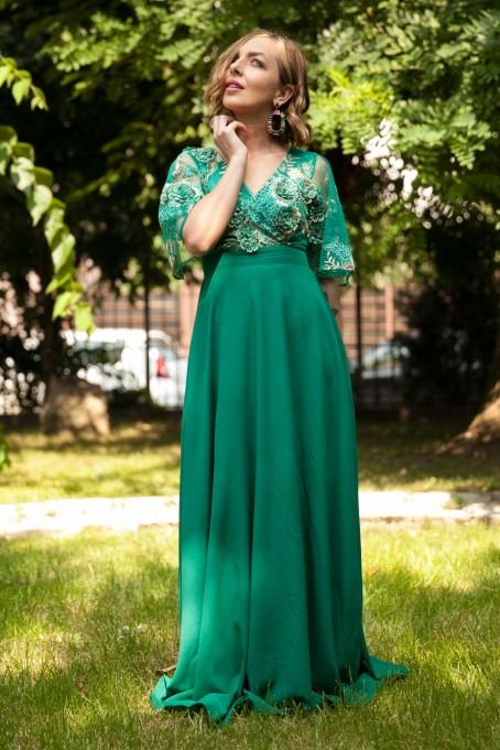 Rochie lungă din voal și dantelă 3D...