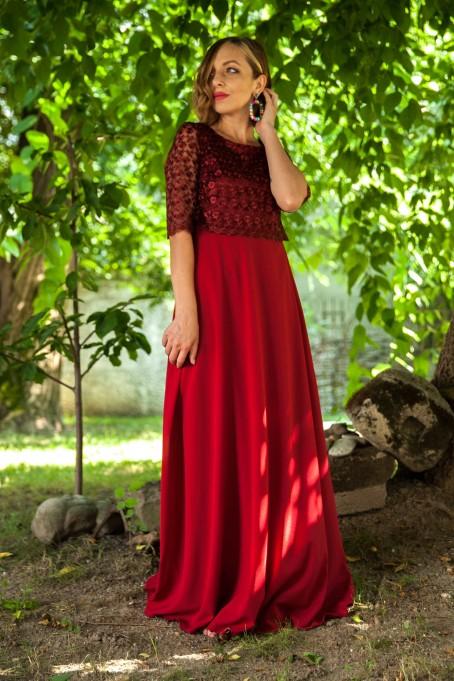 Rochie lungă cu dantelă Diana - Bordo