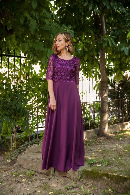 Rochie lungă cu dantelă Diana - Mov