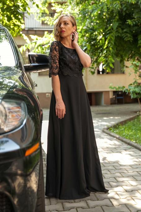 Rochie lungă cu dantelă Diana - Negru