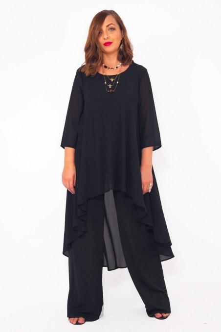 Compleu elegant cu pantaloni India Negru