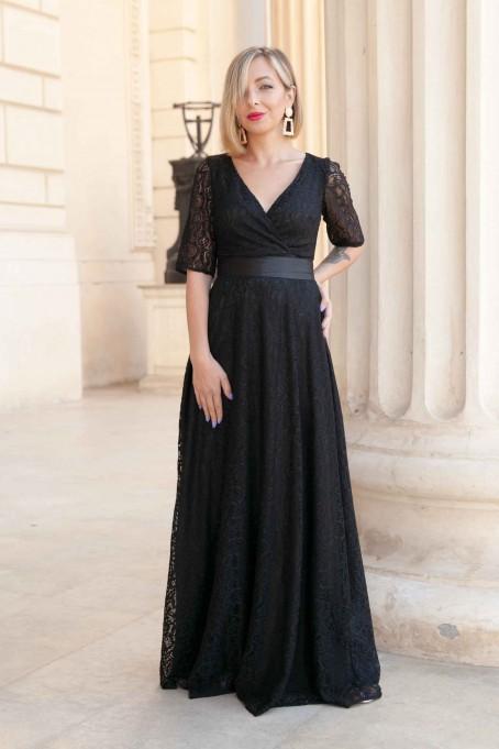Rochie lungă din dantelă Milano - Negru