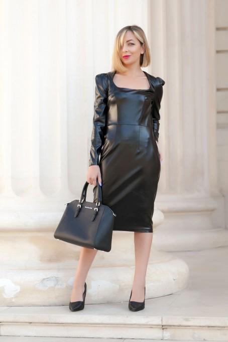 Rochie midi din piele - Negru