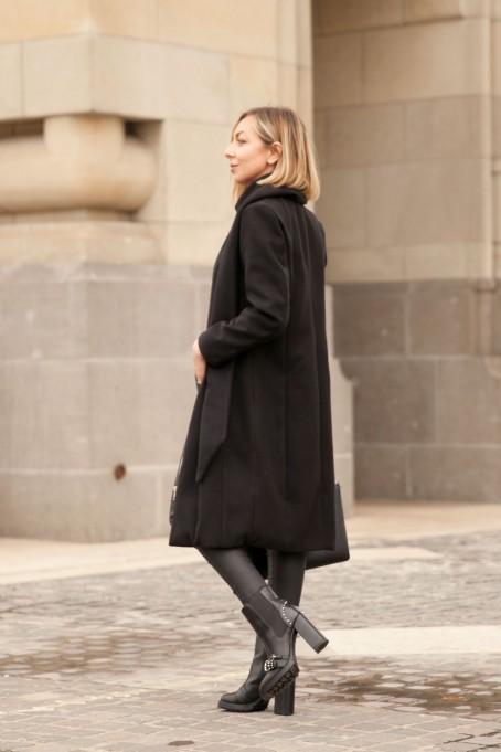 Palton Paris cu șal din stofă - Negru