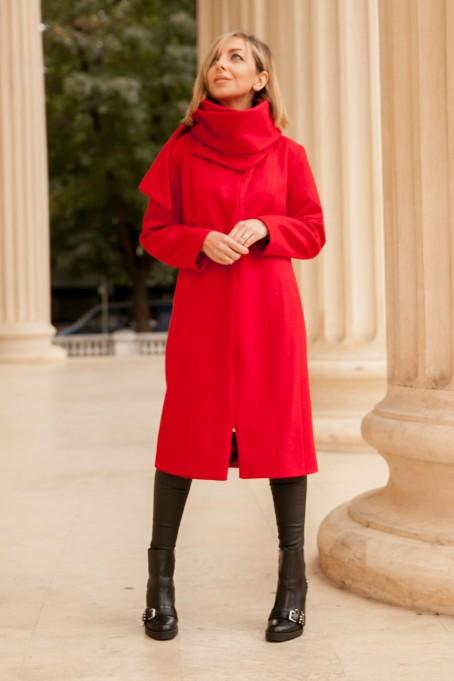Palton Paris cu șal din stofă - Roșu