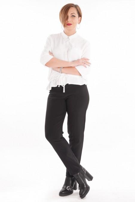 Pantaloni conici din stofă elastică Dublin